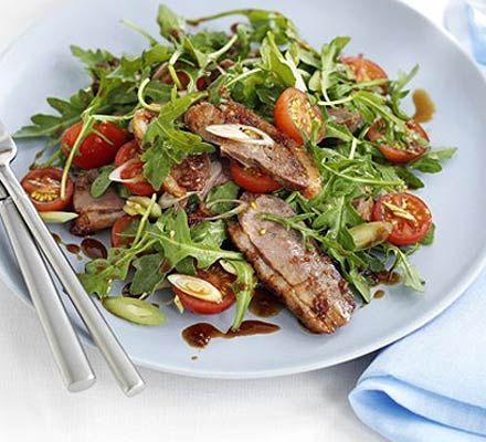 Oriental duck salad  http://www.bbcgoodfood.com/recipes/4703/oriental-duck-salad-