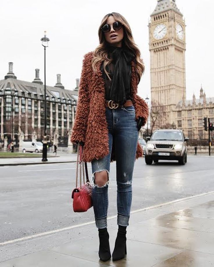 looooove the outfit fur teddybear coat brown high waist jeans destroyed schluppenbluse blouse black #<3