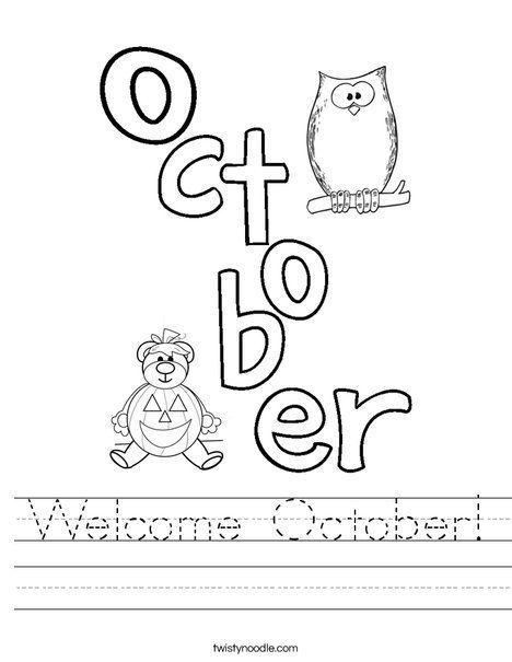 Welcome October Worksheet - Cursive - Twisty Noodle | MS ...
