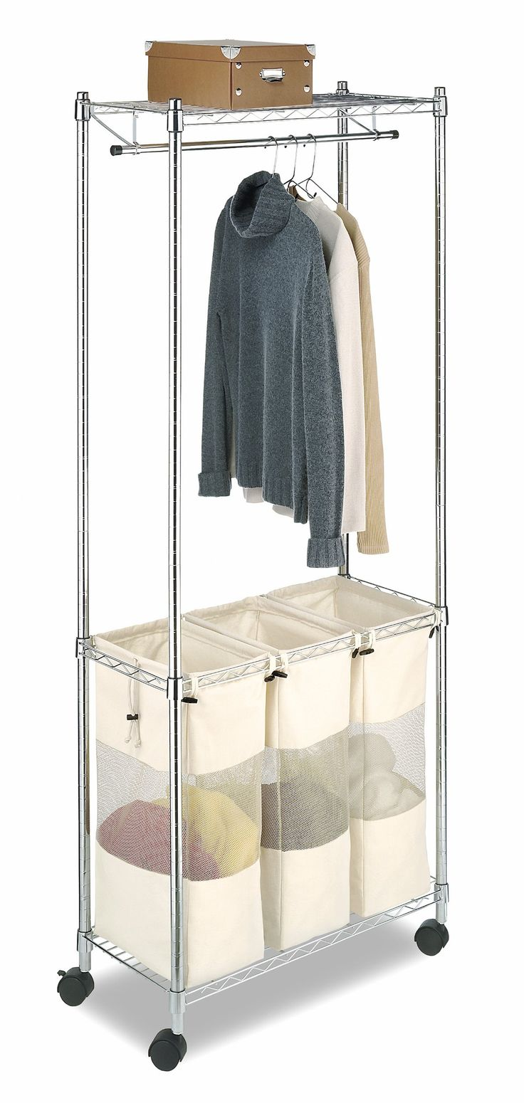 Organize your entire laundry room with the Supreme Laundry Center! Made of chromed steel, this rolling laundry organizer is a sorter and garment rack all-in-one! A hanging clothes rod is perfect for drying clothes, while the 3-section laundry sorter below provides a place for lights, darks and delicates. This rolling hamper features easily-removable and breathable canvas bags. A wire shelf on top provides extra drying space and storage options. Rolls sturdily on casters.