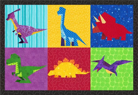 Dinosaurs 6 Quilt Block Patterns Foundation Paper
