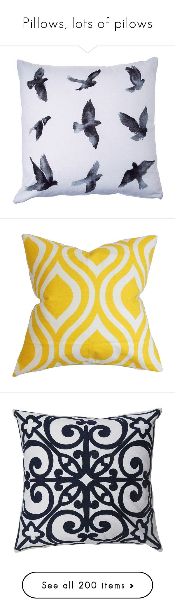 """""""Pillows, lots of pilows"""" by sassiesavy ❤ liked on Polyvore featuring home, home decor, throw pillows, graphic throw pillows, bird throw pillow, contemporary throw pillows, contemporary home decor, bird home decor, pillows and yellow"""