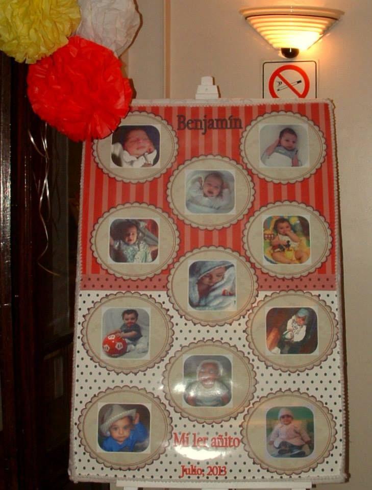 Cartel de bienvenida con fotos de Benja desde sus 2 días hasta la actualidad. Ambientación infantil - cumpleaños realizada en Casa de los Naranjos, Palermo, Buenos Aires, Argentina