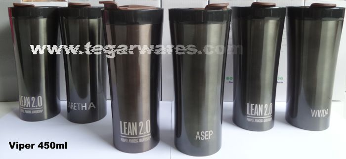 Viper Stainless tumbler 450ml capacity with logo branding and personalization, participants' names one by one to be used as a gimmick or a souvenir at the closing ceremony of the training manager at PT Pratama Abadi Industri, Serpong, Tangerang Banten Indonesia.