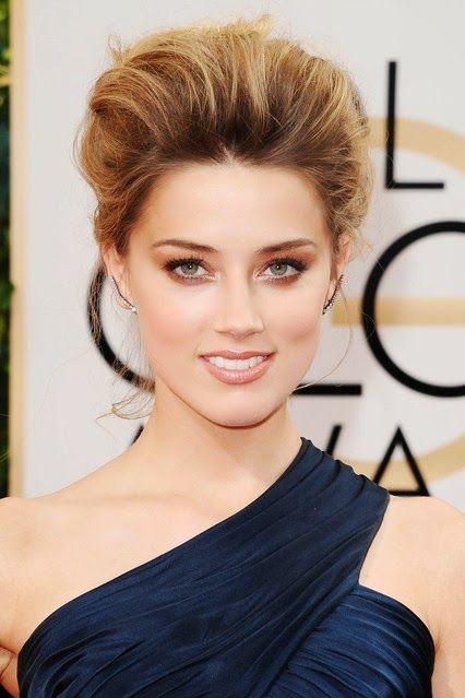 Moda Imagem: Beleza: Golden Globes #2014 Amber Heard  - volume nos cabelos, olhos de bronze e batom nude, com cílios extra-longo enrolado