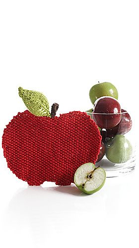 Knitted Apple Pattern : #FREE #KNITTING #PATTERN apple wash cloth Home - Cloths, Potholders & T...