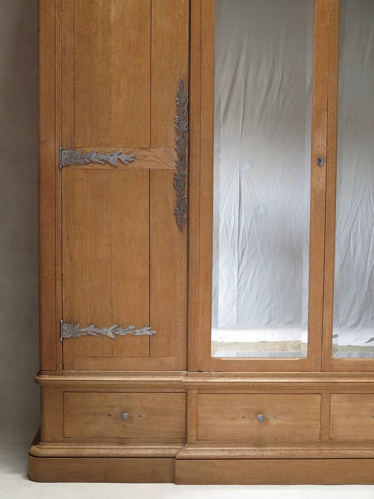Solid Oak Wardrobe with Olive Leaf Motif Hardware, France, Early 20th Century image 5