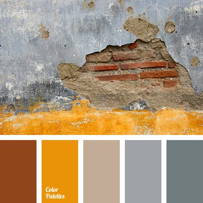 """The combination of warm and cool colors: red brick masonry, texture of an aged gray plaster, and light ocher. This color palette is suitable for interior decoration in a modern styles: minimalistic industrial, loft or a peaceful a country. """"Antique"""" color solution fits good in the room with a fireplace – dining room or library."""