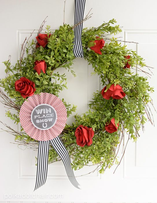 Learn how to easily DIY your own Kentucky Derby Wreath a cute Kentucky derby decoration. Kentucky Derby Craft Ideas and Party Decorations