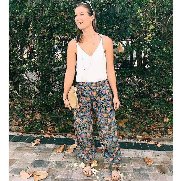 "The wonderfully chic @allaboutharri featured us on her Instagram a few days ago. Here's what she had to say: ""I've been thinking about my essential holiday edit for a new post and one thing I couldn't live without is lightweight cotton trousers. And these harem pants from @anindiansummeruk are  - they are beautifully fine and the floral design has fun holiday style written all over it."" Shop link in bio.  Regram: @allaboutharri"
