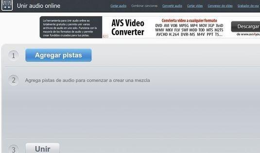 Utilidad web gratuita para unir varios archivos de audio