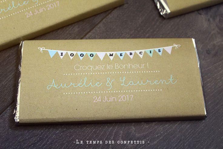 Tablette de chocolat personnalisée à offrir à vos convives cadeaux invités mariage original vintage kraft fanions 1000 mercis tendance de la boutique Letempsdesconfettis sur Etsy