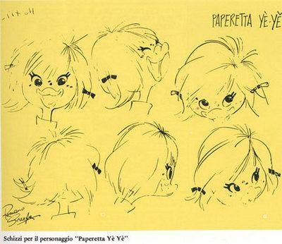 ulaulaman:  Dickie Duck, Goldie's granddaughter. Model sheet by Romano Scarpa