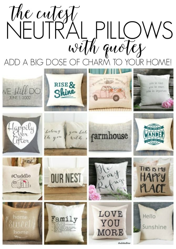 Collection of awesome neutral pillows with quotes