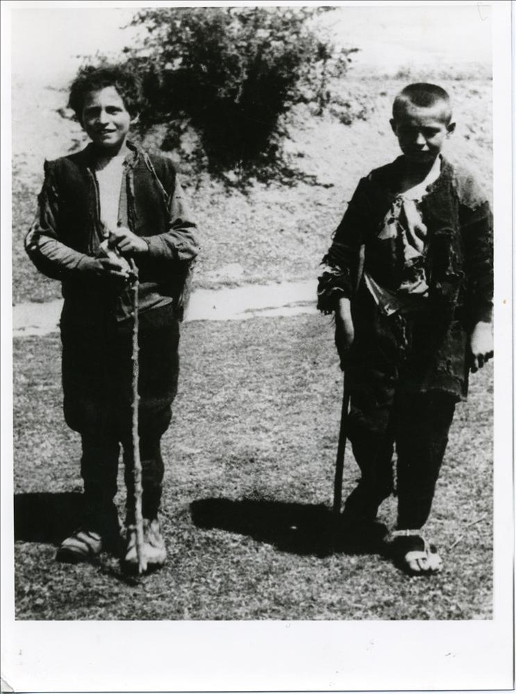 "Epirus, Greece, 1944. Two ""Aetopoula"" (i.e. Young Eagles), children serving as messengers of EAM (i.e. National Liberation Front), the most numerous of the resistance forces against the Axis Triple occupation of Greece."