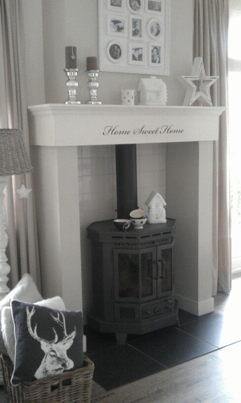 A mantel for a woodstove!! LOVE  Living Room by Tamara Jonker