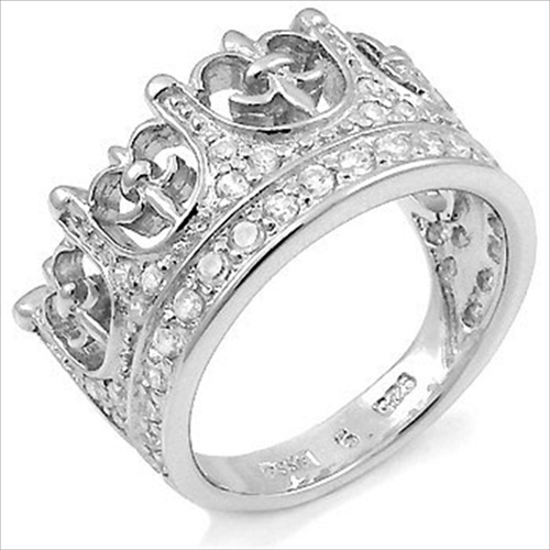 Sterling Silver Regal Crown CZ Mens Ring This Is The Kings Nice
