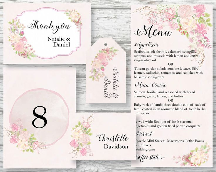 Wedding stationery kit; wedding day stationery; hand painted watercolor blush roses; includes custom text; printable wedding stationery by LollysLaneShoppe on Etsy