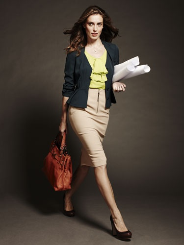 "Matching pieces still have their place (just ask HR), but this ladylike jacket, bright top, and knee-length skirt work together seamlessly and say, ""Gimme that job."""