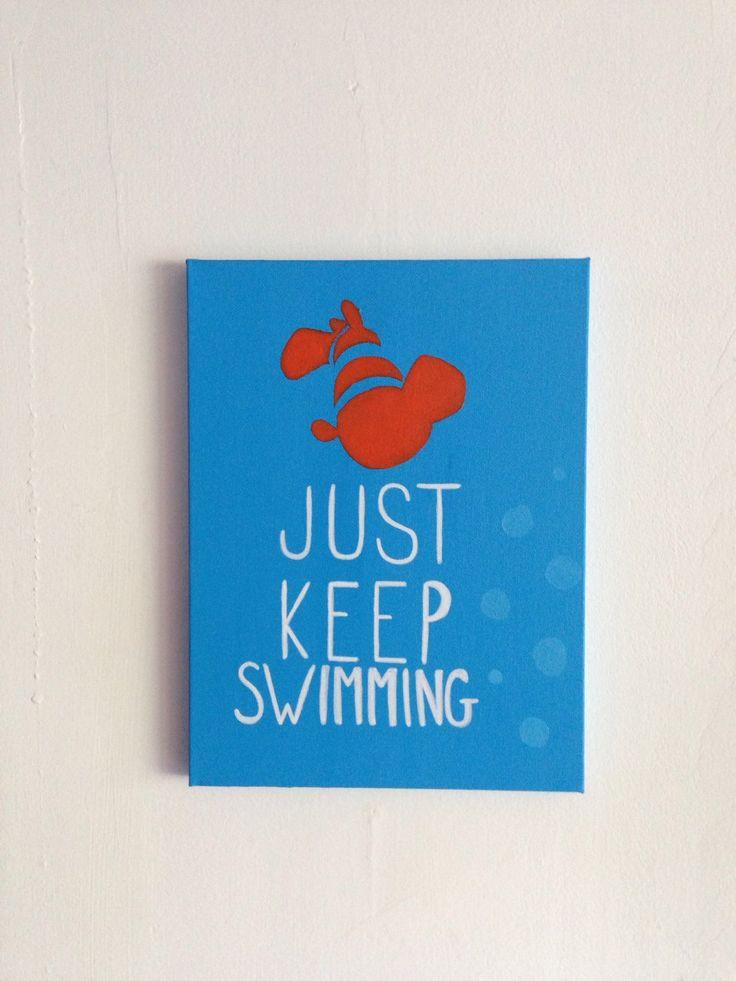 "Finding Nemo Disney Painting - ""Just Keep Swimming"" by PaintTheStarsStudio on Etsy https://www.etsy.com/listing/232393076/finding-nemo-disney-painting-just-keep"