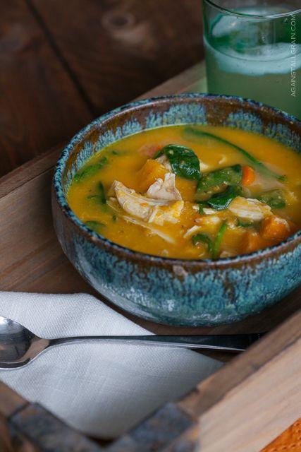 Soupe avec restes de poulet rôti