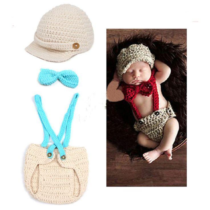 Neugeborenen Gentleman Outfit Baby stricken häkeln Foto Prop Entzückende Neugeborenen Häkelarbeithut Fliege und Hosenträger-Hose Windel Kostüm(China (Mainland))