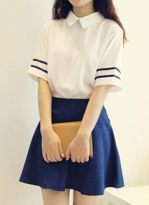 Aliexpress.com : Buy Beautiful Girl navy sailor suit school uniform set White shirt +Denim Blue skirt from Reliable uniform power suppliers on Shenzhen  Zzz  Co,. Ltd.    Alibaba Group