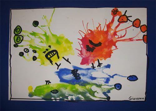 idée de monstre en peinture soufflée merci marie-élise :)