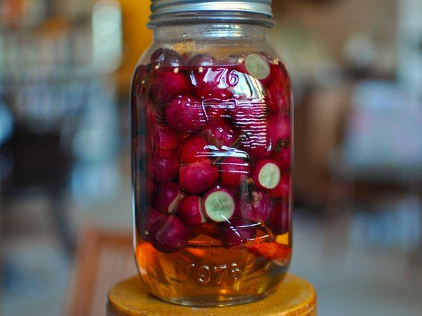 Pickled red grapes.  I tried these last night (thanks Marisa) and they were amazing.  Sweet yet pickley.  Gotta make them