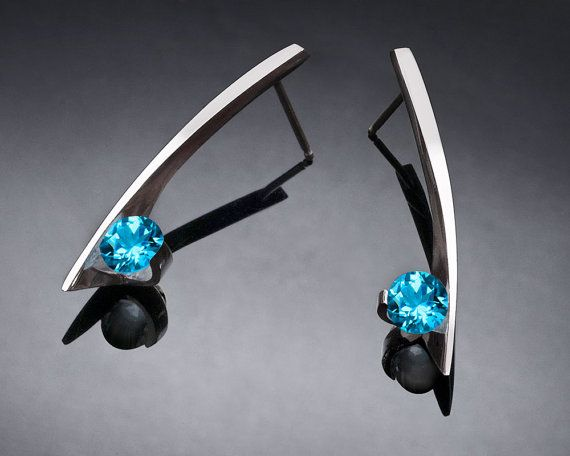 Swiss blue topaz earrings - Argentium silver - December birthstone - wedding - posts - gemstone jewelry - 2458