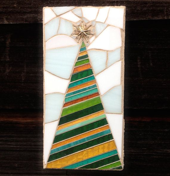 Striped Mosaic Christmas Tree with Brooch by StrappStudioMosaics