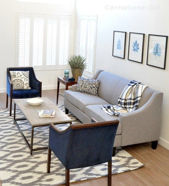 Gray Sofa Navy Chairs Grey Chair Living Room Living Dining Room Clean Living Rooms #navy #living #room #furniture