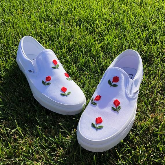 All White Slip On Vans Mini Rose Shoes – clothes