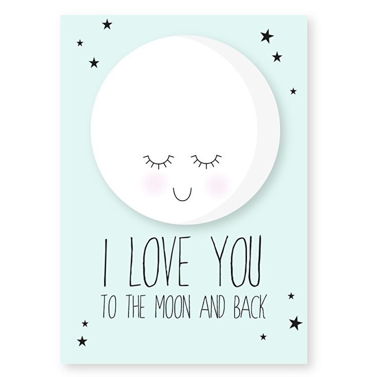 Ansichtkaart I love you in mint.Lief maan kaartje in mintgroen met tekst I love you to the moon and back. Leuk om op te sturen maar ook heel decoratief in een lijstje of met stukje washitape opgeplakt in bijvoorbeeld de kinderkamer.