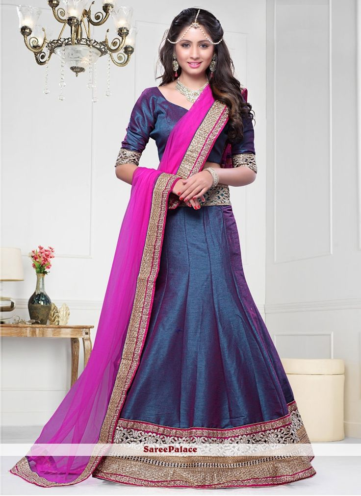 Dark Blue And Magenta Dhupion Silk A Line Lehenga Choli
