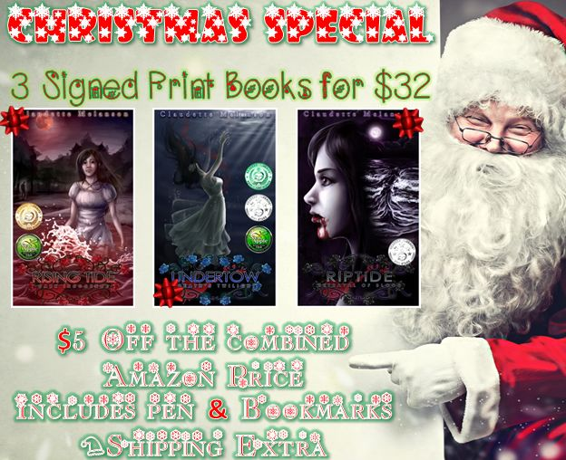 Christmas special! 3 YA Signed Print #books for $32 with extras! The complete Maura DeLuca trilogy Ship Date Dec 10 http://www.claudettemelanson.com/cmasspecial #IARTG #ASMSg