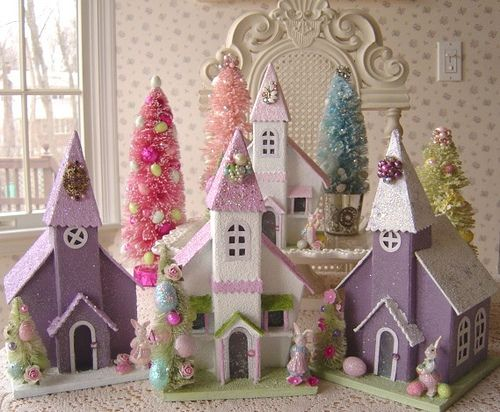 Pastel easter churches for decorations