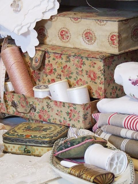 Vintage Boxes and sewing supplies