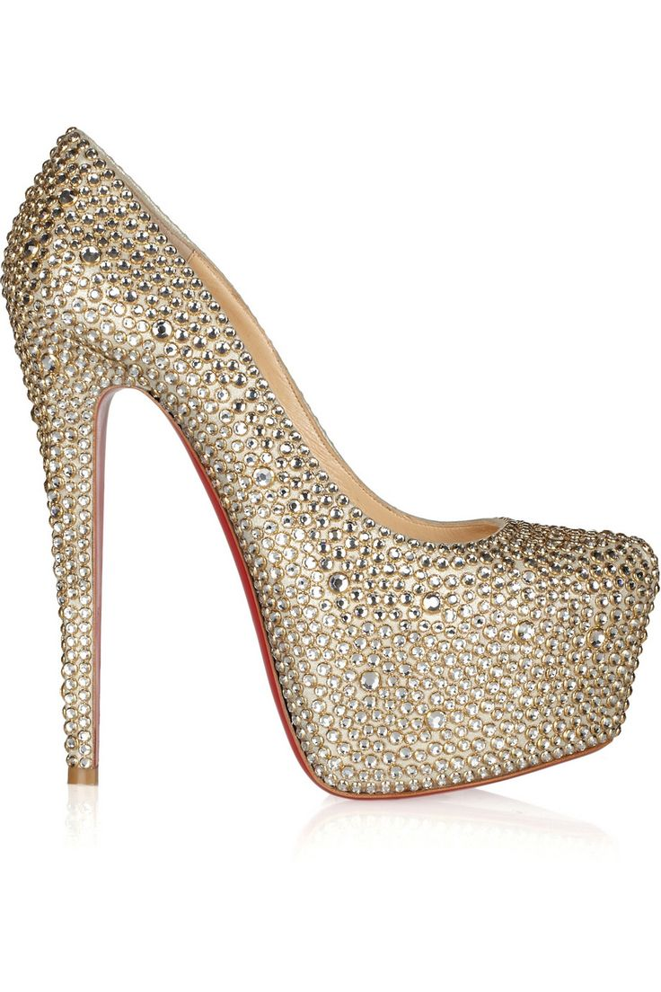 christian louboutin gold crystal shoes