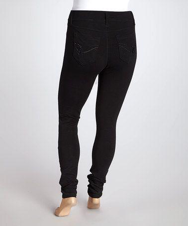 Love this Black Molleton Rhinestone Skinny Jeans - Plus by WallFlower Jeans on #zulily! #zulilyfinds
