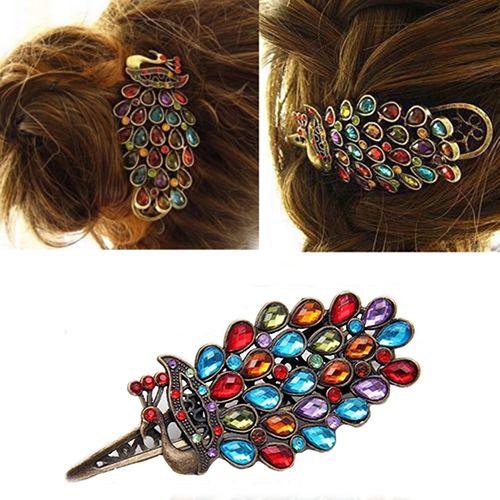 1Pc Girls Women's Crystal Rhinestone Peacock Hair Barrette Vintage Clip Hairpin Hair accessories