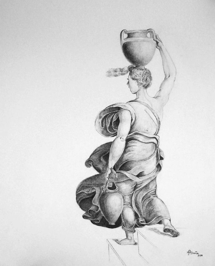 Mujer con cántaro según Rafael Sanzio. Carboncillo sobre papel.
