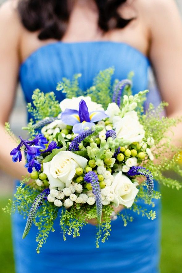 White with soft blue, purple and green bridesmaids bouquet. #bluebridesmaidsbouquet #heavenscentfloraldesign