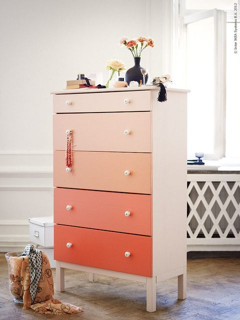 Paint dresser drawers in shades (use every color on the paint card)