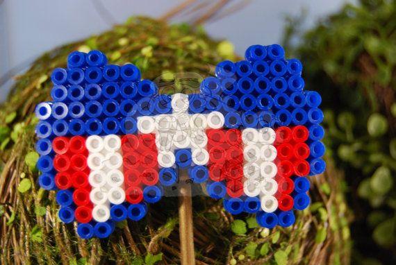 Captain America Perler Bow by FantasticalFancies on Etsy