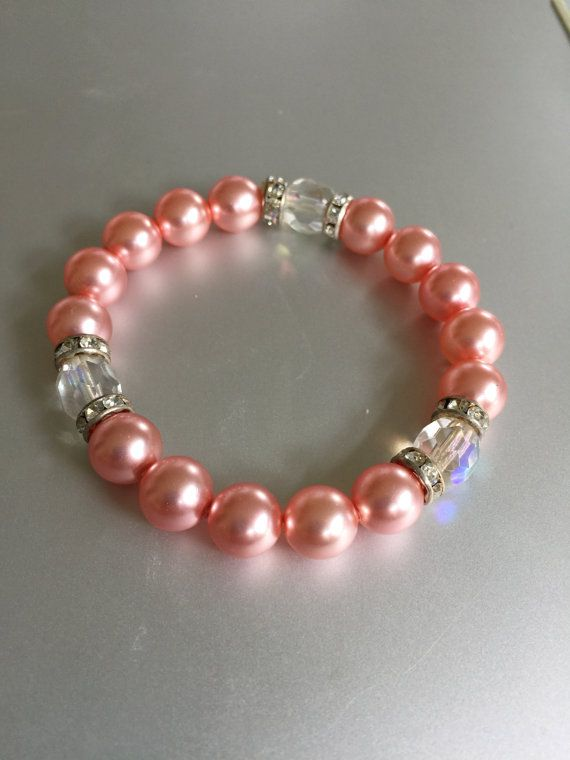 Pink Pearl and Swarovski Crystal Bracelet by joytoyou41 on Etsy