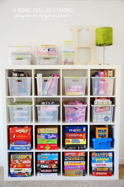 Easy access and well sorted materials. Space for games in homeschool room.
