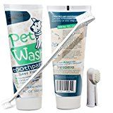 OxGord 14 oz. Pet Dog Toothpaste Dental Care Kit with Dual Toothbrush for Oral Hygiene-Fights Plaque Freshens Breath- Cleans and Restores-2 pack - Beef Flavor