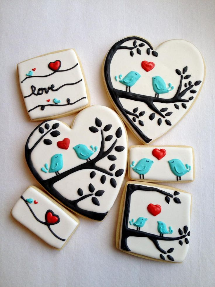 love bird cookies. so adorable! I know these are cookies, but they would be adorable as nail art!