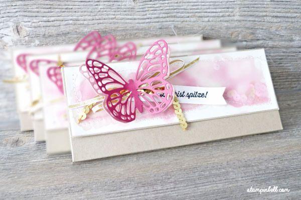 Verpackung mit Magnetverschluss Milka Stampin Up! Schmetterling Schokoloadentafel